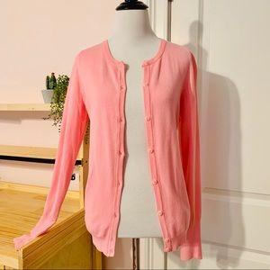 Zara Bright Pink Button Up Cardigan Slit Sleeves